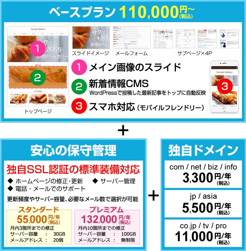 ベースプラン100,000円~+安心の保守管理+独自ドメイン