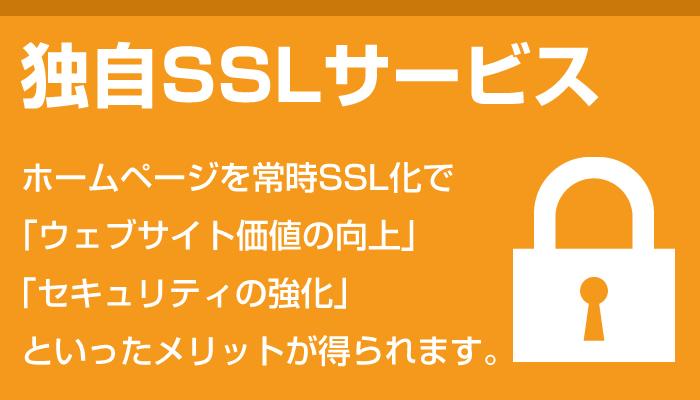 独自SSLサービス。ホームページを常時SSL化で「webサイト価値の向上」「セキュリティーの強化」といったメリットが得られます